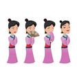 china woman people character set vector image