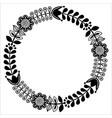 finnish floral folk art round pattern - black desi vector image