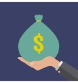 Hands holding money bag vector image
