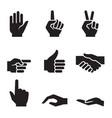 human hand symbol icon set vector image