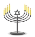 Menorah with Burninng Candles vector image
