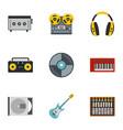 music recording icon set flat style vector image