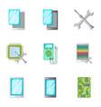 phone repair servise icons set cartoon style vector image