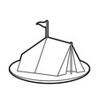 sketch silhouette image camping tent in grass with vector image