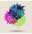 watercolor abstract design with doodle vector image