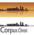 Corpus Christi skyline in orange background vector image vector image