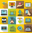 3d printing icons set flat style vector image