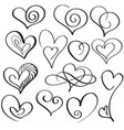 set of calligraphy heart art for design vector image vector image