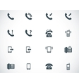 Black telephone icons set vector image