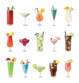 Set of different alcohol drink bottle and glasses vector image