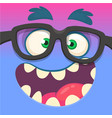 cartoon monster face wearing eyeglasses vector image