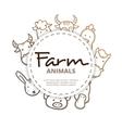 farm animals icons circle composition vector image