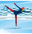 Girl goes ice skating in the pose arabesque vector image