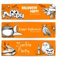 Halloween celebration banners with text vector image