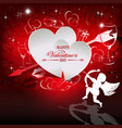 red design with white silhouettes of two hearts vector image