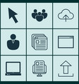 set of 9 web icons includes program website vector image