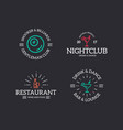 set of retro vintage night club billiard vector image