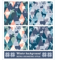 Winter geometric seamless patterns vector image