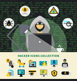hacker activity icons collection vector image