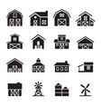 barn farm building icon set vector image