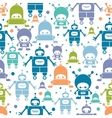 Cute colorful cartoon robots seamless pattern vector image