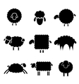 black silhouette of sheeps vector image
