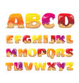 coated wafers sweet alphabet letters set vector image