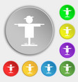 Scarecrow icon sign Symbol on eight flat buttons vector image