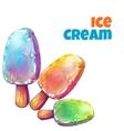 set with tree color ice creams vector image