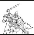 warrior with a sword in armor and helmet on horse vector image