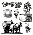 Women dancing barrel grapes charioteer cart driven vector image
