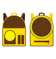 brown and yellow school bag design isolated on vector image