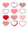 Heart Set Red Valentine Symbols vector image