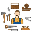 Carpenter with timber and tools vector image vector image