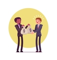 Black businessman is giving two sacks of money to vector image