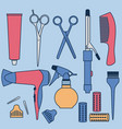 drawing hairdressing accessories collection vector image