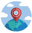 Globe with pin Single flat color icon vector image