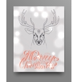 Hand drawn deer head with horns vector image