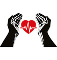 Hand with heart and cardiogram symbol vector image