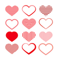 Heart Set Red Valentine Symbols vector image