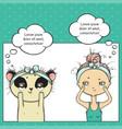 make-up of girl and panda pop art thinking bubble vector image