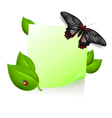 Note with leaves and insects vector image