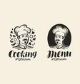 portrait of happy chef logo icon and label for vector image