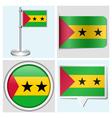 Sao Tome and Principe flag - sticker button vector image