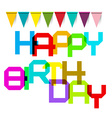 Happy Birthday Colorful Title and Flags vector image vector image