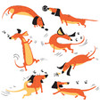 funny happy dachshunds playing with insects vector image vector image