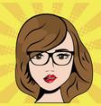 woman wearing glasses pop art comic vector image