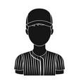 baseball player baseball single icon in black vector image