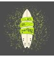 surfboard in dark cartoon graffiti design vector image