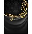 Dark gray fabric curtain background Gold vignette Vector Image